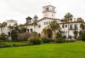 17931345 - exterior of famous santa barbara court house in california